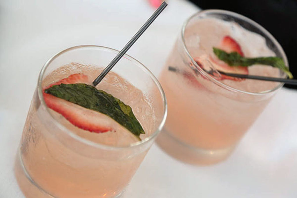 Refreshing cocktail with strawberry and mint