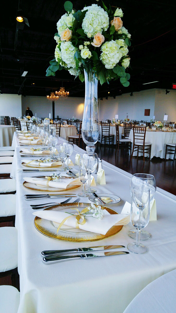 A photo of wedding decorations on table