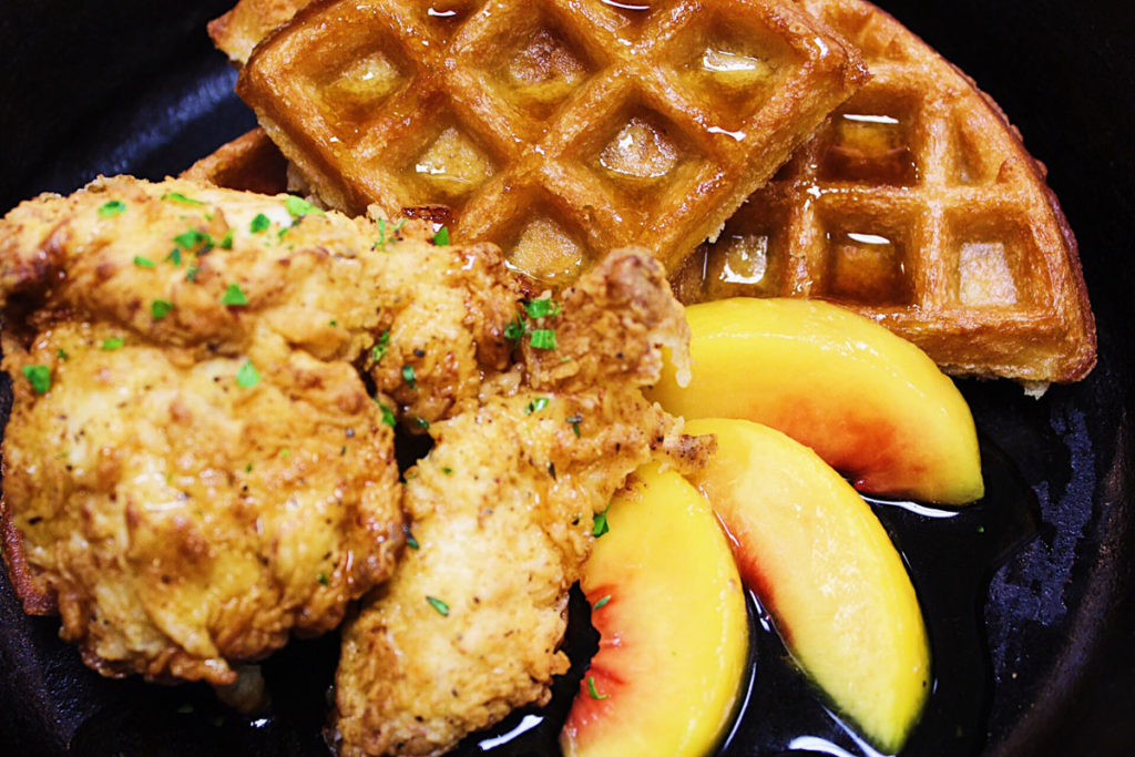 Tasty chicken and waffles