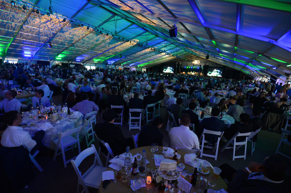 A photo of a decorated corporate event