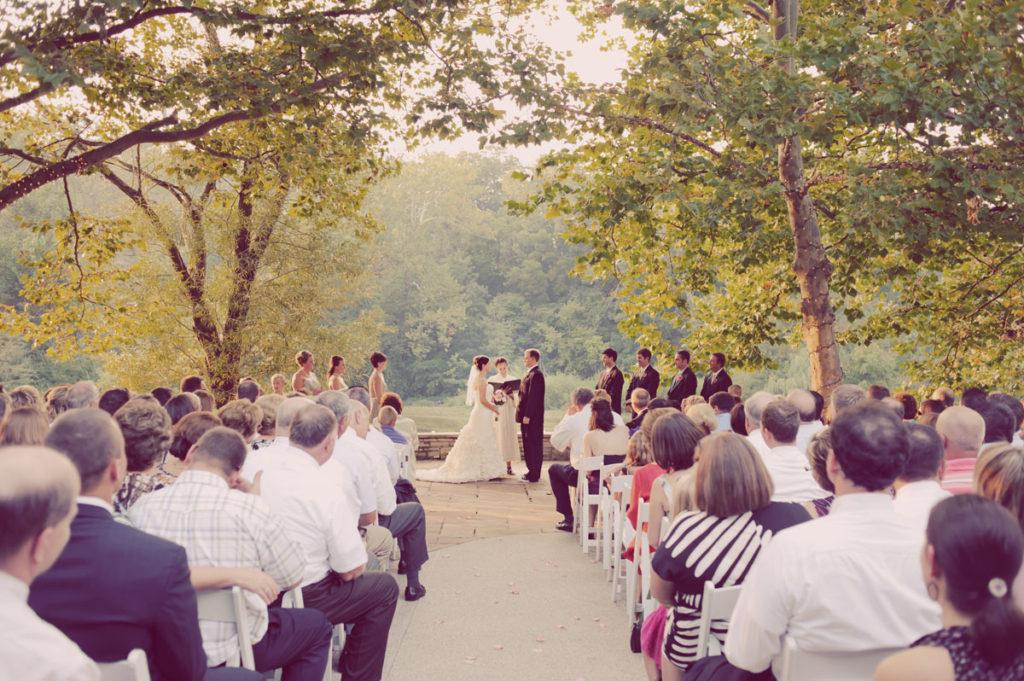 A photo of an outdoor wedding