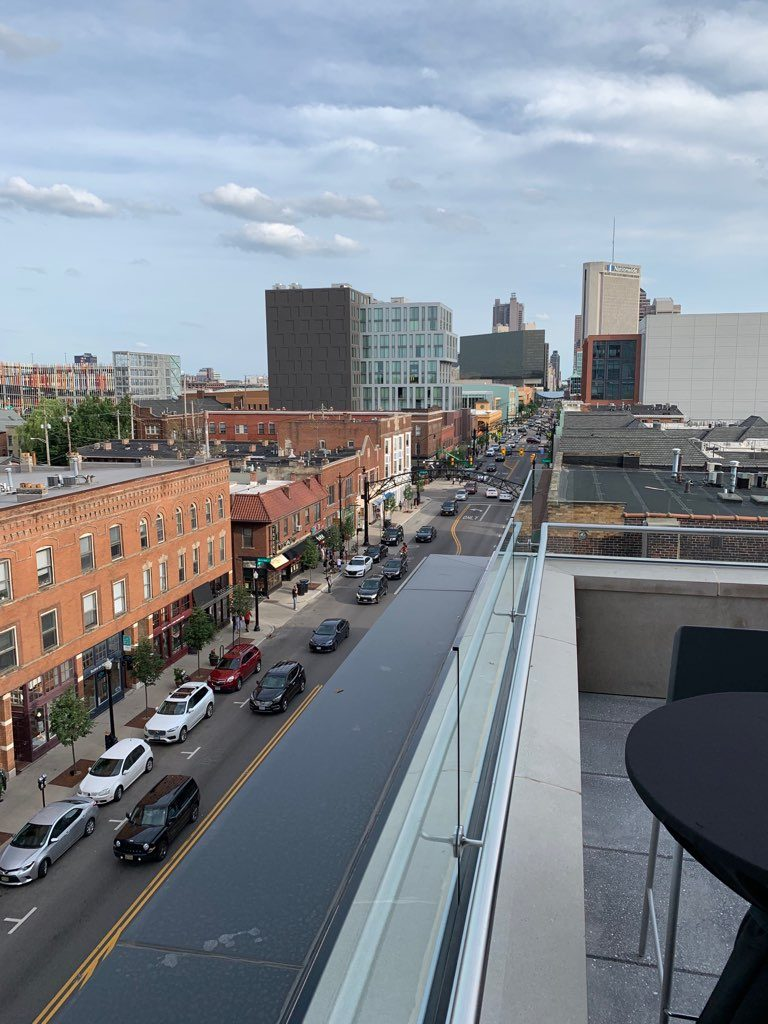 view of downtown Columbus from The Terrace patio
