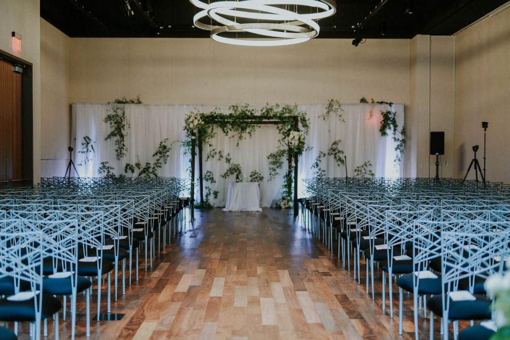 Wedding ceremony setup at The Exchange