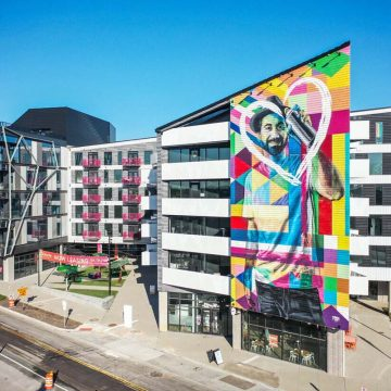 Colorful, multi-story, contemporary building
