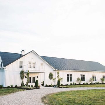 White single-story, barn-style building